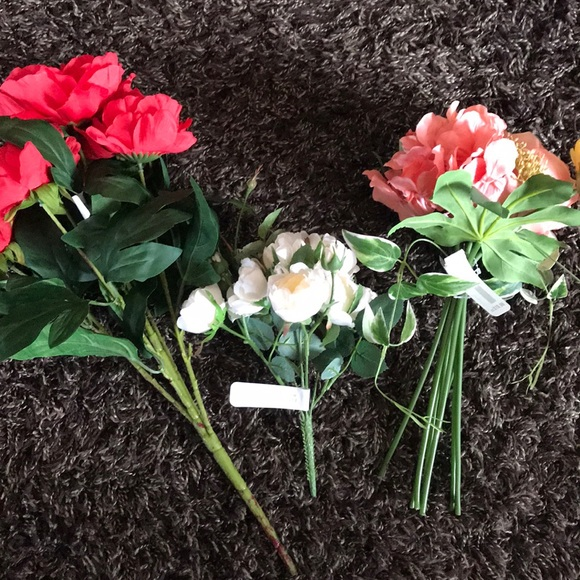 3- bunches of faux flowers